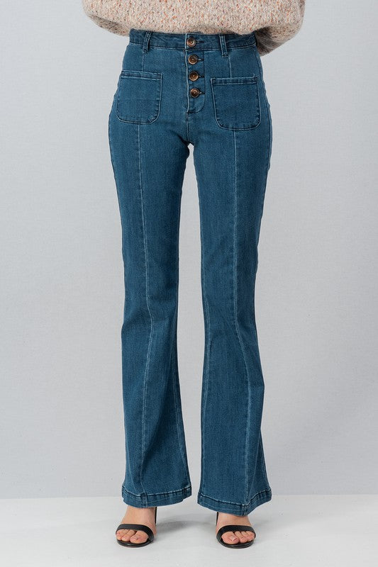 Button High Waist Flare Jeans