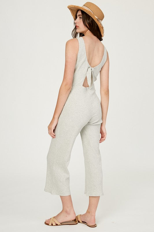 Ribbed Textured Cut-Out Back Jumpsuit