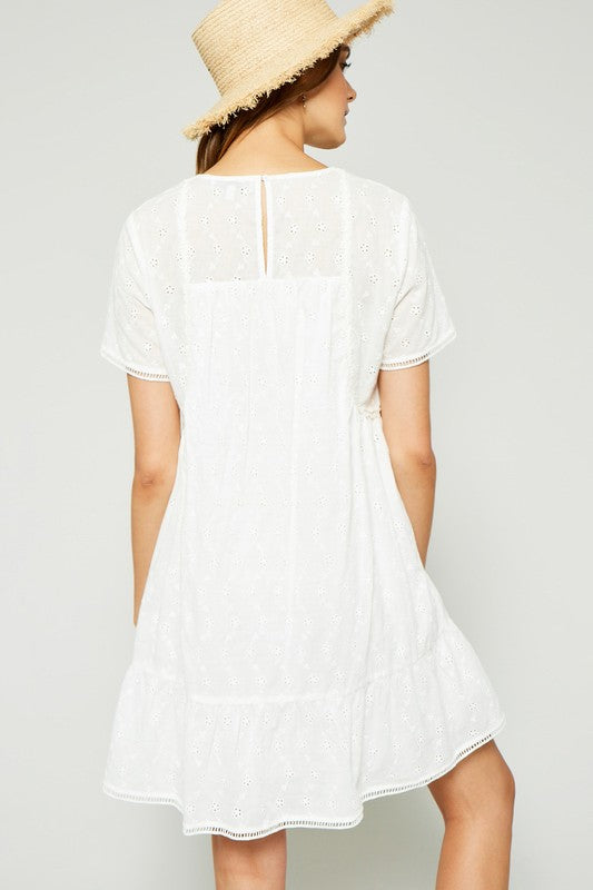 Eyelet Ruffle Mini Dress
