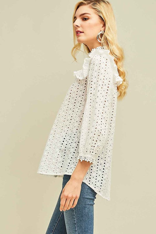 Eyelet Lace Long Sleeve Top