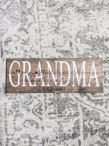 Mom/Grandma Sign