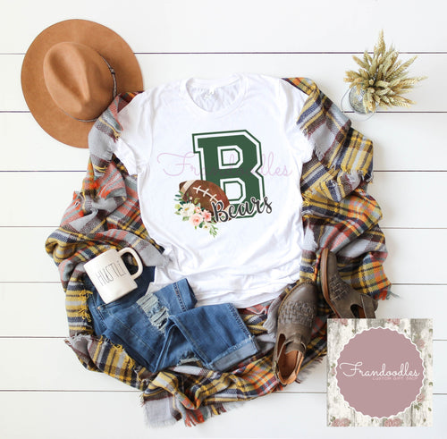 Varsity B Bears Football Tee- Women's