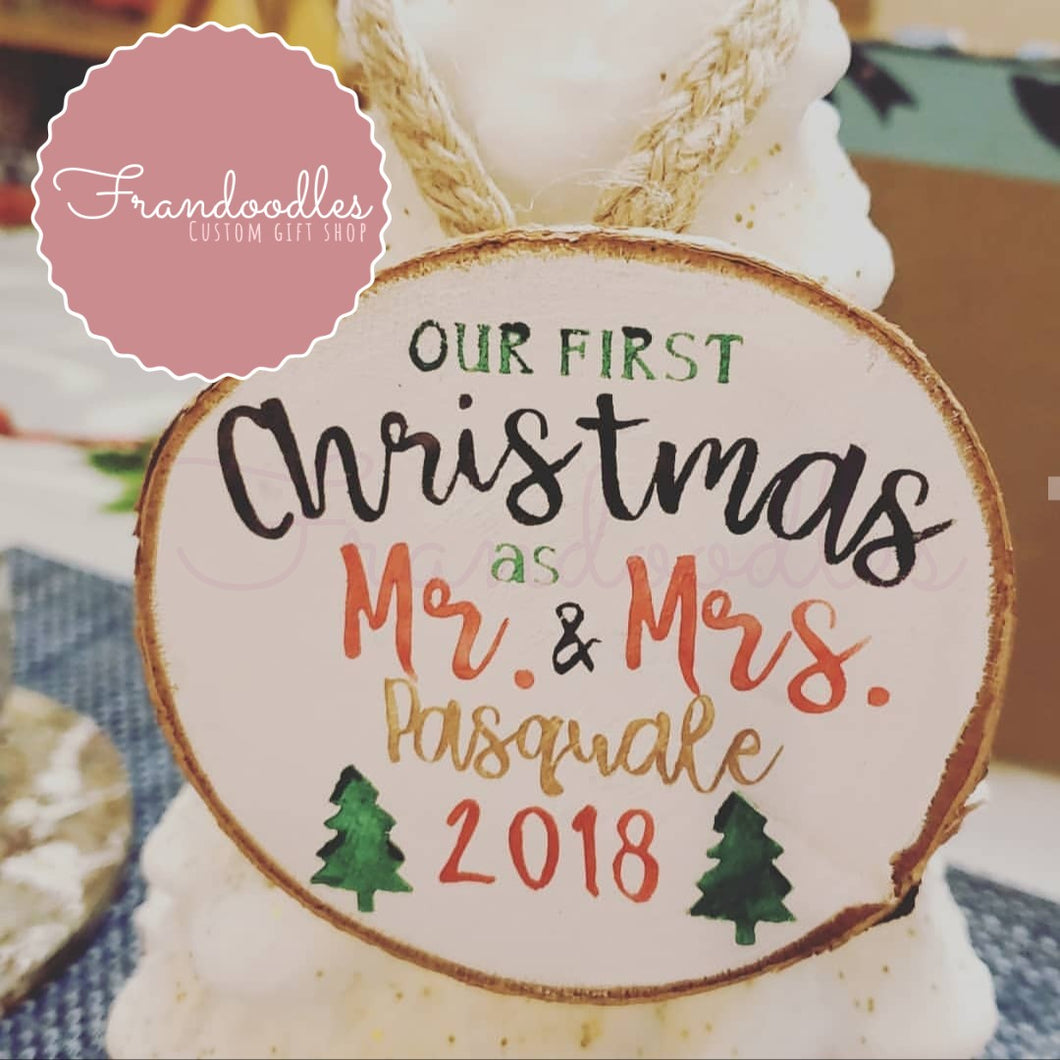 First Christmas Marriage Wood Slice Ornament