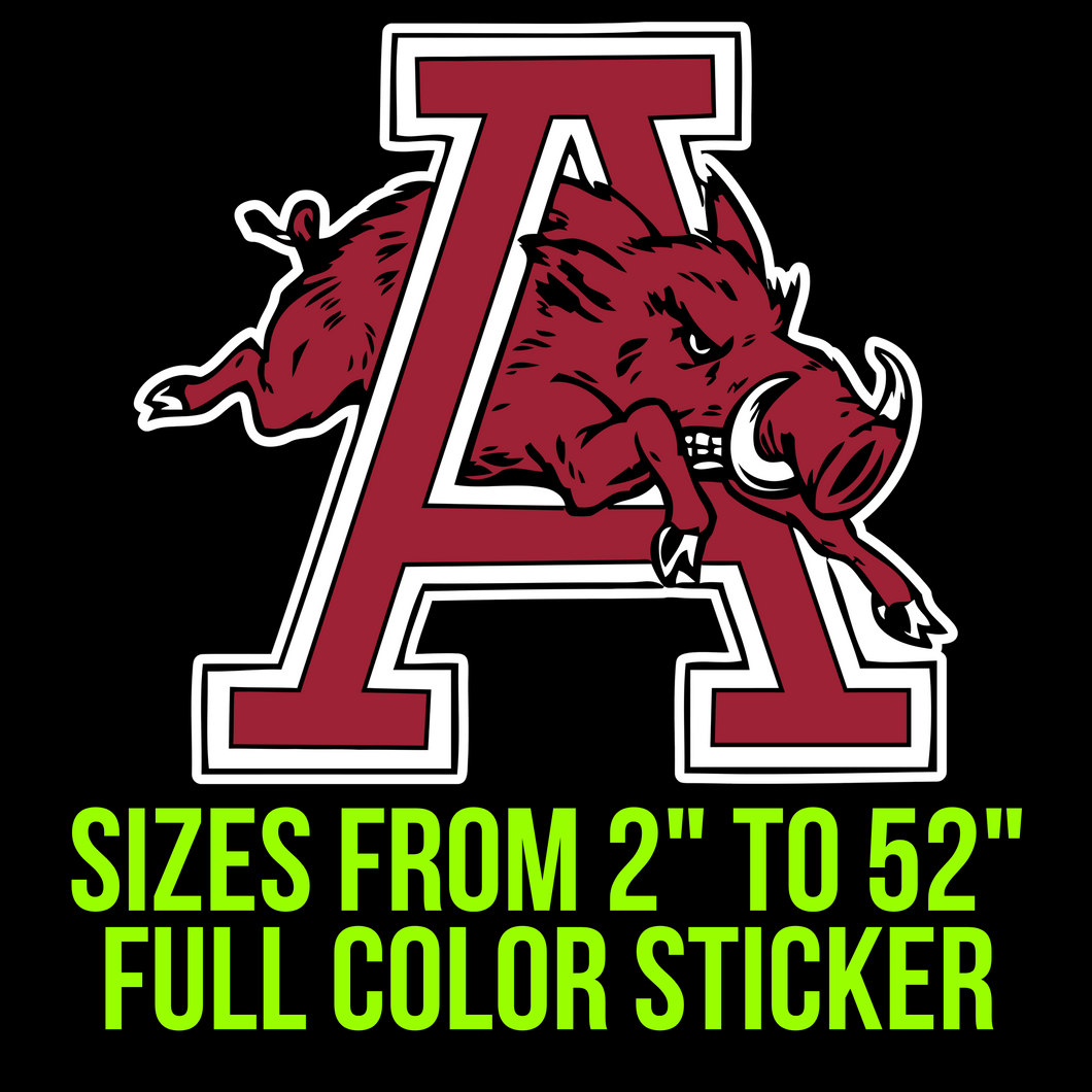 Arkansas Razorbacks Full Color Vinyl Decal
