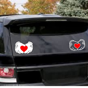 Mickey Mouse Hands Holding a Heart Vinyl Decal