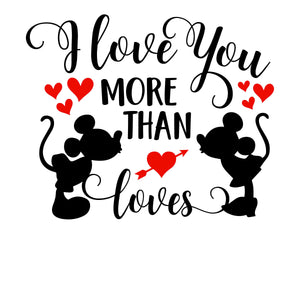 I Love You More Than Mickey Loves Minnie Vinyl Decal