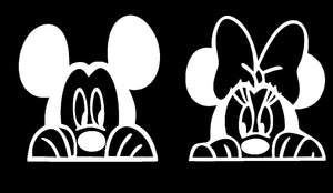 Mickey or Minnie Mouse Peeking Vinyl Decal