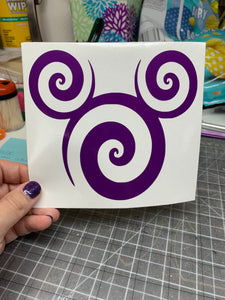Mickey or Minnie Mouse Swirl Vinyl Decal