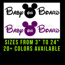 Load image into Gallery viewer, Mickey Mouse Baby on Board Vinyl Decal