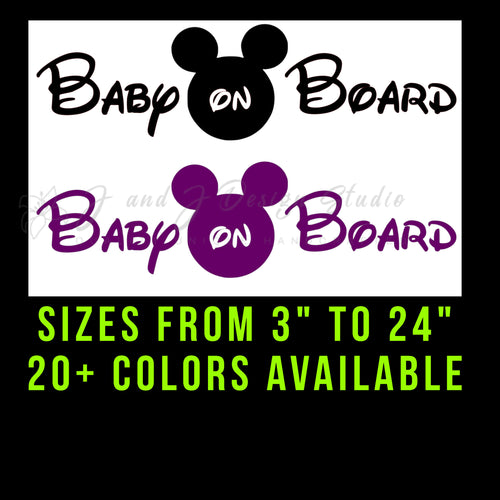 Mickey Mouse Baby on Board Vinyl Decal