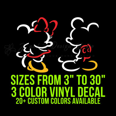 Mickey or Minnie Mouse Silhouette Vinyl Decal