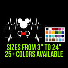 Load image into Gallery viewer, Mickey or Minnie Mouse Heartbeat Vinyl Decal