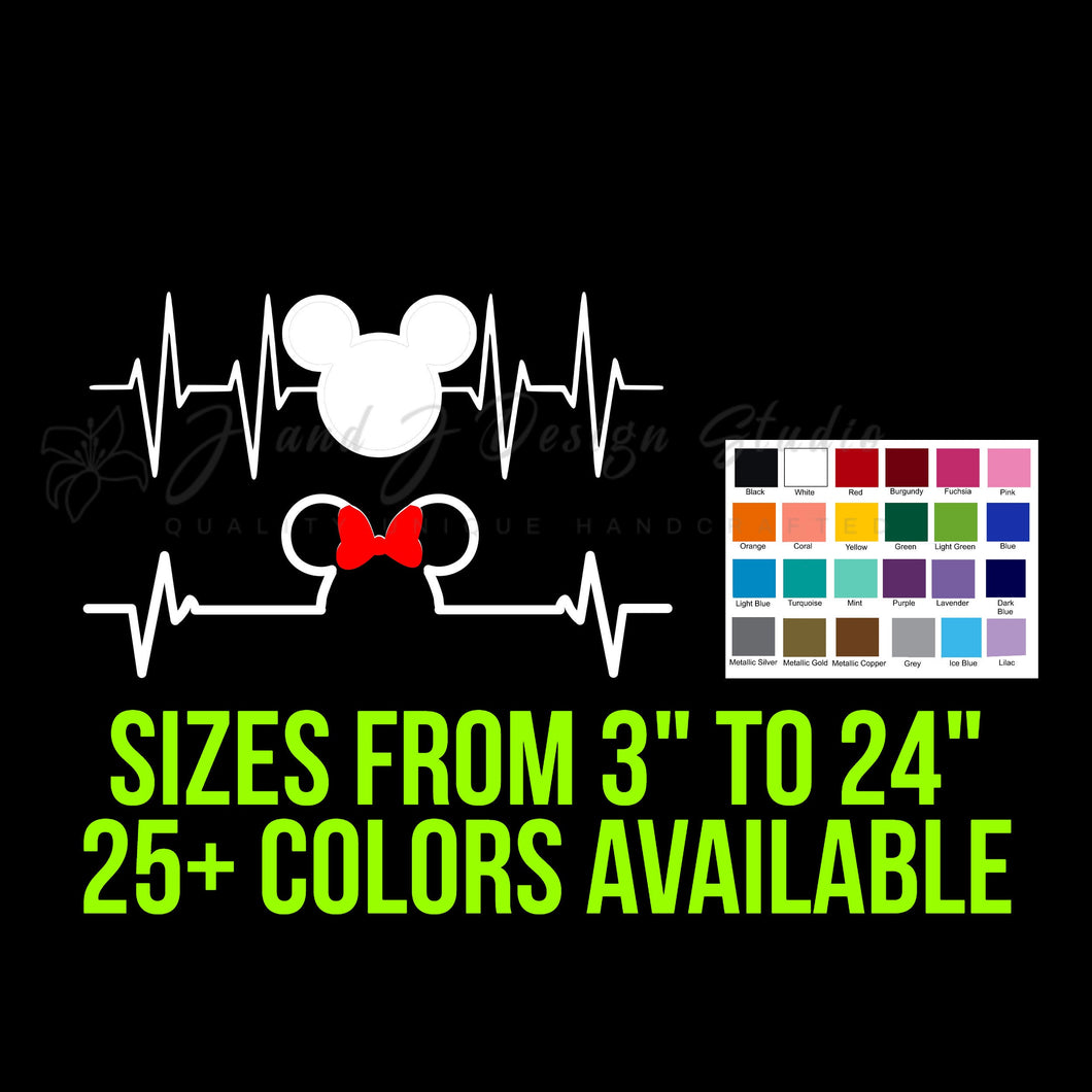 Mickey or Minnie Mouse Heartbeat Vinyl Decal