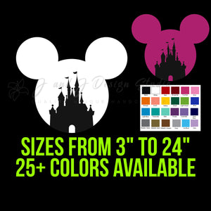Mickey Mouse Head with Castle Vinyl Decal