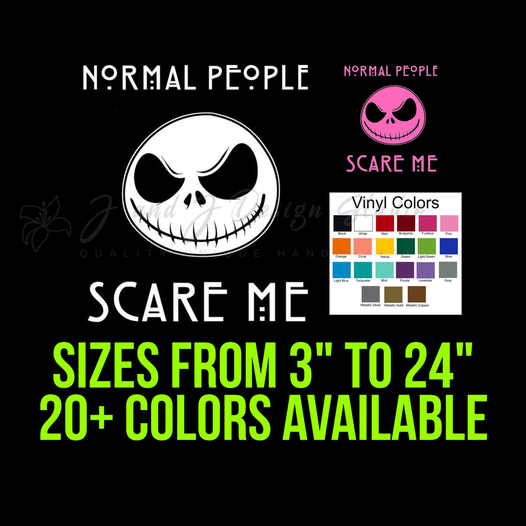 Jack Skellington Normal People Scare Me Vinyl Decal