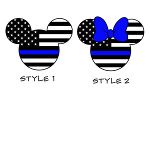 Mickey or Minnie Mouse Police or Fire Vinyl Decal