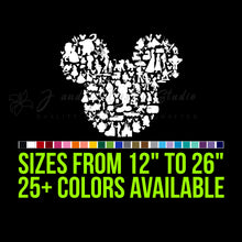 Load image into Gallery viewer, Mickey or Minnie Mouse all Character Silhouette Vinyl Decal