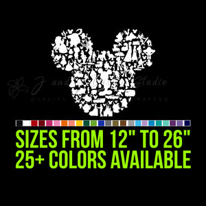 Mickey or Minnie Mouse all Character Silhouette Vinyl Decal