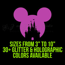Load image into Gallery viewer, Holographic or Glitter Mickey Mouse Head with Castle Vinyl Decal