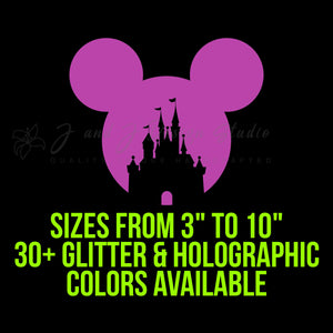 Holographic or Glitter Mickey Mouse Head with Castle Vinyl Decal