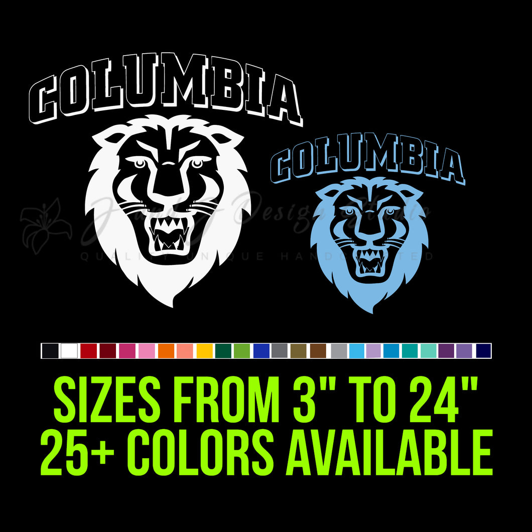 Columbia Lions Decal | Hydroflask decal | Yeti Decal | Laptop Decal | Cell phone Decal | Vinyl Car Decal | Cornhole Decal