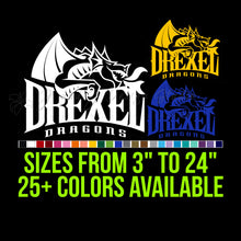 Load image into Gallery viewer, Drexel Dragons Vinyl Decal | Hydroflask decal | Yeti Decal | Laptop Decal | Cell phone Decal | Vinyl Car Decal | Cornhole Decal