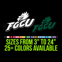 Load image into Gallery viewer, Florida Gulf Coast Eagles Vinyl Decal | Hydroflask decal | Yeti Decal | Laptop Decal | Cell phone Decal | Vinyl Car Decal | Cornhole Decal