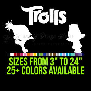 Trolls Vinyl Decal | Hydroflask decal  | Cell phone Decal | Vinyl Car DecalLaptop Decal | Hydroflask Decal  | Cell Phone Decal