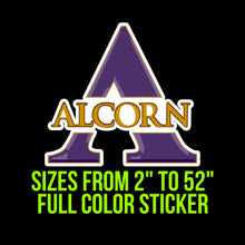 Load image into Gallery viewer, Alcorn State Braves Vinyl Decal | Hydroflask decal | Yeti Decal | Laptop Decal | Cell phone Decal | Vinyl Car Decal | Cornhole Decal