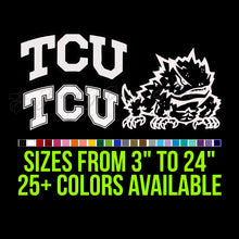 Load image into Gallery viewer, TCU Horned Frogs Vinyl Decal | Hydroflask decal | Yeti Decal | Laptop Decal | Cell phone Decal Vinyl Car Decal Cornhole Decal