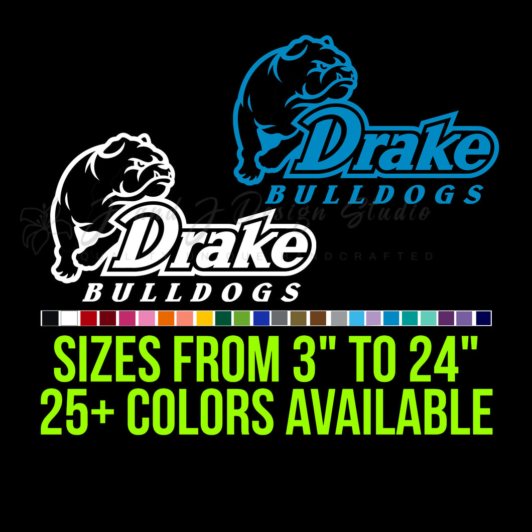 Drake Bulldogs Vinyl Decal | Hydroflask decal | Yeti Decal | Laptop Decal | Cell phone Decal | Vinyl Car Decal | Cornhole Decal