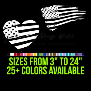 Distressed American Flag  Vinyl Decal | Hydroflask decal  | Cell phone Decal | Vinyl Car DecalLaptop Decal|Hydroflask Decal|Cell Phone Decal