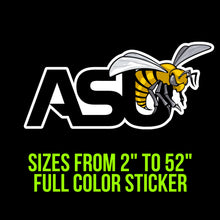 Load image into Gallery viewer, Alabama State Hornets Vinyl Decal | Hydroflask decal | Yeti Decal | Laptop Decal | Cell phone Decal | Vinyl Car Decal | Cornhole Decal