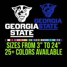 Load image into Gallery viewer, Georgia State Panthers Vinyl Decal | Hydroflask decal | Yeti Decal | Laptop Decal | Cell phone Decal Vinyl Car Decal Cornhole Decal