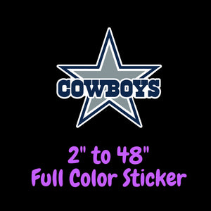 Dallas Cowboys Full Color Vinyl Sticker ; Hydroflask decal ; Laptop Decal ; Yeti Decal ; Cell phone Decal ; Cornhole Decal ; Vinyl Car Decal