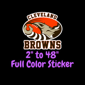 Cleveland Browns Full Color Vinyl Sticker ; Hydroflask decal ; Laptop Decal ; Yeti Decal Cell phone Decal Cornhole Decal Vinyl Car Decal