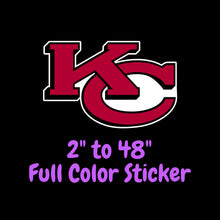 Load image into Gallery viewer, Kansas City Chiefs Full Color Vinyl Sticker ; Hydroflask decal ; Laptop Decal ; Yeti Decal Cell phone Decal Cornhole Decal Vinyl Car Decal