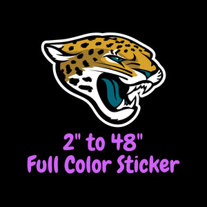 Jacksonville Jaguars Full Color Vinyl Sticker ; Hydroflask decal ; Laptop Decal ; Yeti Decal Cell phone Decal Cornhole Decal Vinyl Car Decal