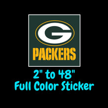 Load image into Gallery viewer, Green Bay Packers Full Color Vinyl Sticker ; Hydroflask decal ; Laptop Decal ; Yeti Decal Cell phone Decal Cornhole Decal Vinyl Car Decal