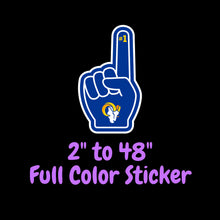 Load image into Gallery viewer, Los Angeles Rams Full Color Vinyl Sticker ; Hydroflask decal ; Laptop Decal ; Yeti Decal Cell phone Decal Cornhole Decal Vinyl Car Decal