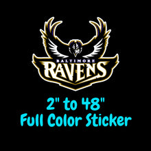 Load image into Gallery viewer, Baltimore Ravens Full Color Vinyl Sticker ; Hydroflask decal ; Laptop Decal ; Yeti Decal Cell phone Decal Cornhole Decal Vinyl Car Decal