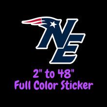 Load image into Gallery viewer, New England Patriots Full Color Vinyl Sticker ; Hydroflask decal ; Laptop Decal ; Yeti Decal Cell phone Decal Cornhole Decal Vinyl Car Decal