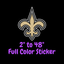 Load image into Gallery viewer, New Orleans Saints Full Color Vinyl Sticker ; Hydroflask decal ; Laptop Decal ; Yeti Decal Cell phone Decal Cornhole Decal Vinyl Car Decal