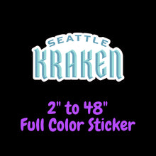 Load image into Gallery viewer, Seattle Kraken Full Color Vinyl Sticker ; Hydroflask decal ; Laptop Decal ; Yeti Decal Cell phone Decal Cornhole Decal Vinyl Car Decal