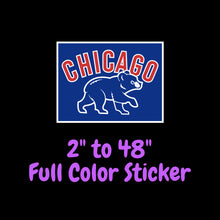 Load image into Gallery viewer, Chicago Cubs Full Color Vinyl Sticker ; Hydroflask decal ; Laptop Decal ; Yeti Decal Cell phone Decal Cornhole Decal Vinyl Car Decal