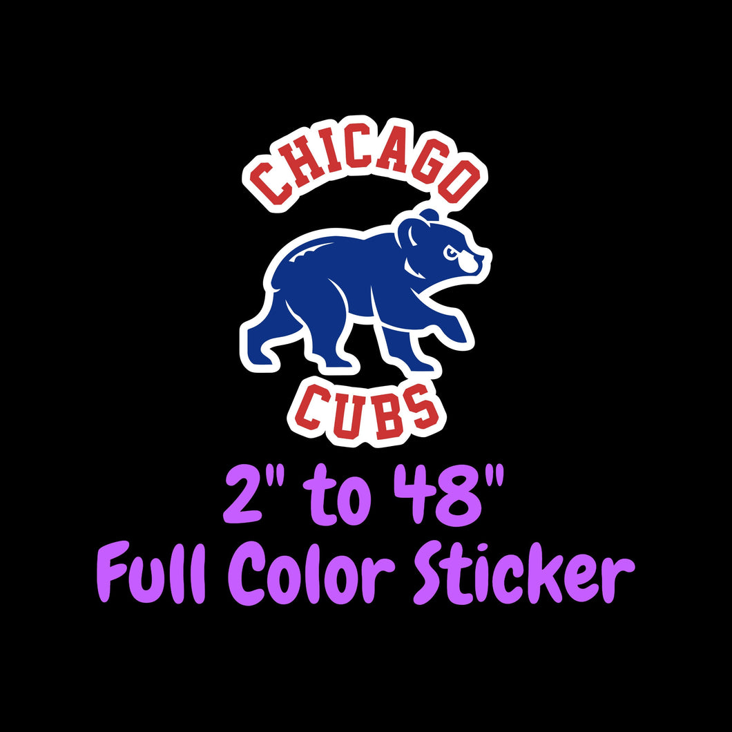 Chicago Cubs Full Color Vinyl Sticker ; Hydroflask decal ; Laptop Decal ; Yeti Decal Cell phone Decal Cornhole Decal Vinyl Car Decal