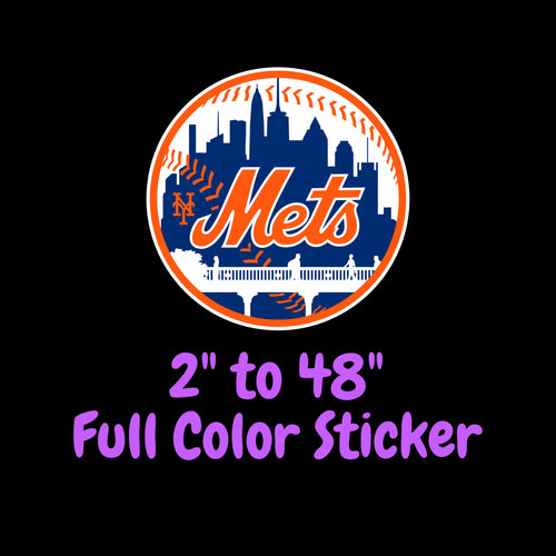 New York Mets Full Color Vinyl Sticker ; Hydroflask decal  Laptop Decal Yeti Decal Cell phone Decal Cornhole Decal Vinyl Car Decal