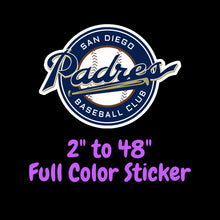 Load image into Gallery viewer, San Diego Padres Full Color Vinyl Sticker ; Hydroflask decal  Laptop Decal Yeti Decal ; Cell phone Decal  Cornhole Decal Vinyl Car Decal