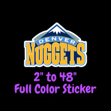 Load image into Gallery viewer, Denver Nuggets Full Color Vinyl Sticker ; Hydroflask decal ; Laptop Decal ; Yeti Decal Cell phone Decal Cornhole Decal Vinyl Car Decal