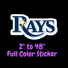 Load image into Gallery viewer, Tampa Bay Rays Full Color Vinyl Sticker ; Hydroflask decal  Laptop Decal Yeti Decal ; Cell phone Decal Cornhole Decal Vinyl Car Decal